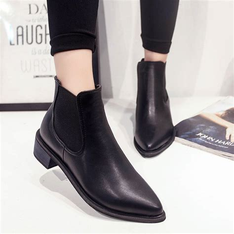 Hot Sale New Women Boots Pointed Toe Black Ankle