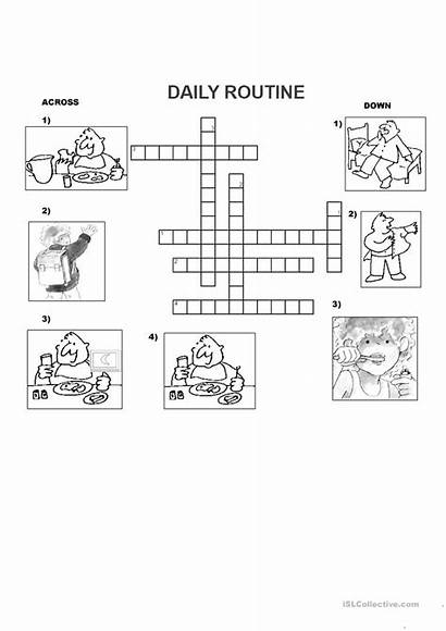 Crossword Daily Routine Worksheets English Islcollective Crosswords