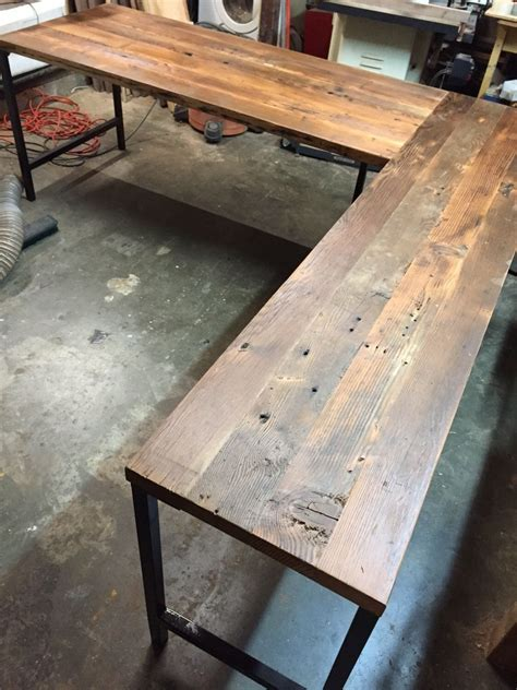 shaped desk reclaimed wood desk industrial modern