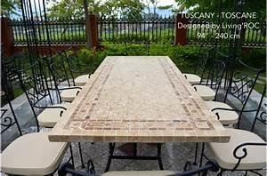 160-200-240cm Italian Mosaic Marble Outdoor Patio Table