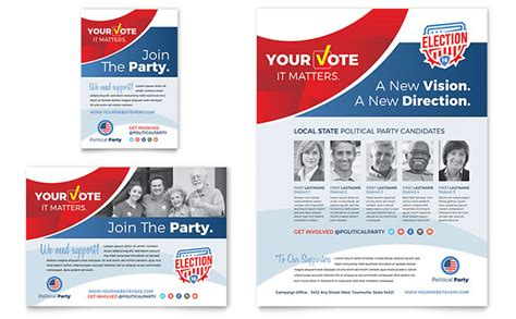 Election Brochure Template by Election Flyer Ad Template Design