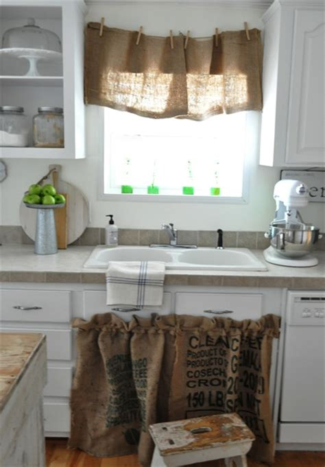 Burlap Utility Sink Skirt by Mixing Vintage With New