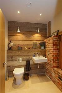 rugged and ravishing 25 bathrooms with brick walls With carrelage adhesif salle de bain avec lampe deco led