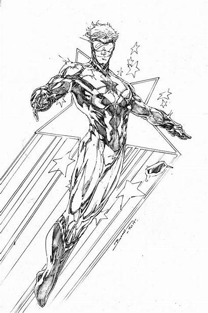 Booster Gold Comic Sketch Brett Booth Wolverine