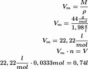Molvolumen Berechnen : volumen von kohlenstoffdioxid ~ Themetempest.com Abrechnung