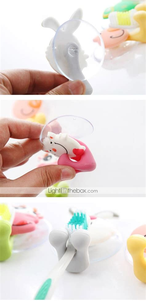 cute cartoon suction cup toothbrush holder hooks bathroom