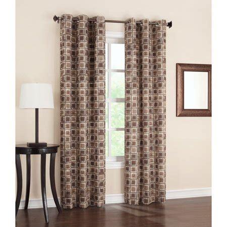 Walmart Thermal Drapes - geometric print thermal grommet curtain panel chocolate