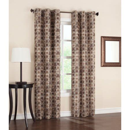 Geometric Print Thermal Grommet Curtain Panel, Chocolate