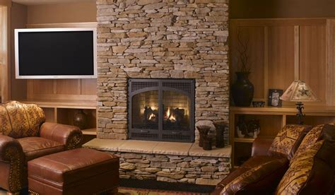 Stone Fireplace Mantels with Chimney - Traba Homes