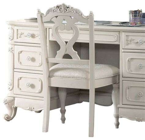 homelegance cinderella writing desk chair in white