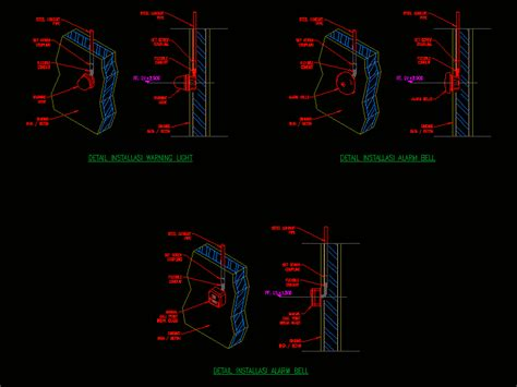call point bell  light alarm dwg block  autocad