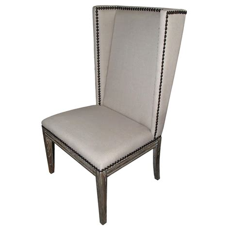 lionel modern grey wing back armless nailhead dining room chair kathy kuo home