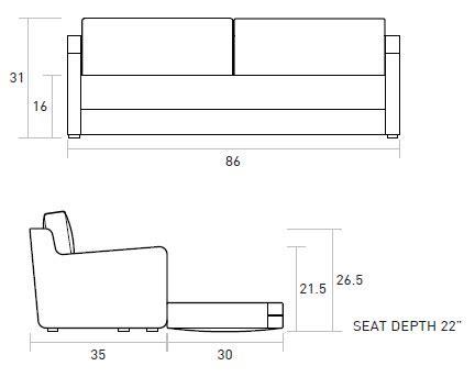 Loveseat Measurements Standard by Gus Modern Flip Sofa Bed In Baldwin Mist Ebay