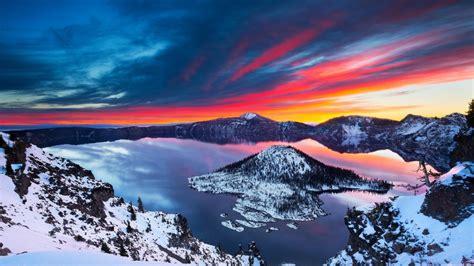 Winter Landscape Desktop Wallpaper Crater Lake Sunrise Winter Landscape Wallpapers 1600x900 506322