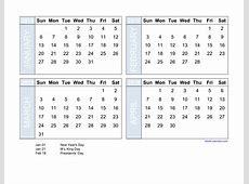 Free Download 2019 Excel Calendar four month in landscape