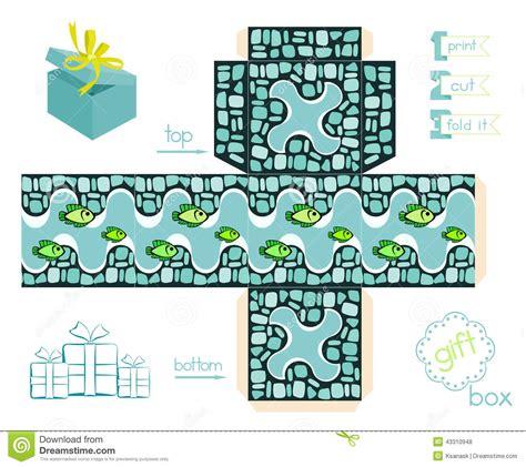 printable gift box  mosaic pattern  fishes stock
