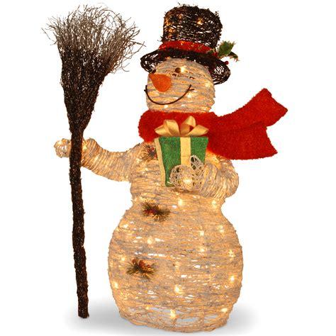 national tree company pre lit 35 quot white rattan snowman