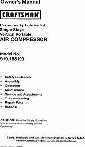 Craftsman 919165190 User Manual Air Compressor Manuals And