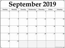 September 2019 free printable blank calendar collection