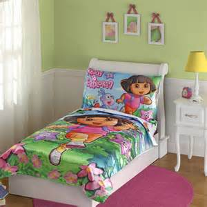 dora 4pc toddler bedding set girls bed comforter sheets ebay