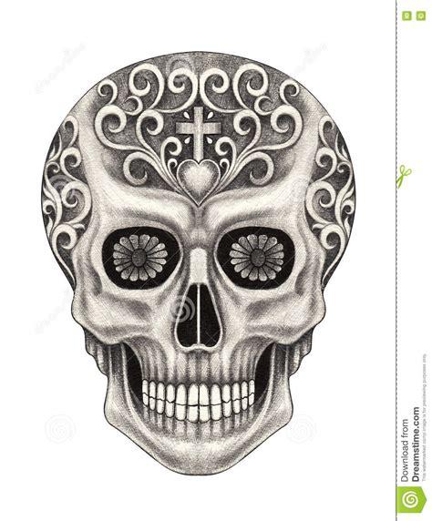 Art Skull Day The Dead Stock Illustration
