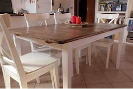 Farm Style Kitchen Chairs by Farmhouse Style Kitchen Table With Bi Colored Design And Four White Chairs Se