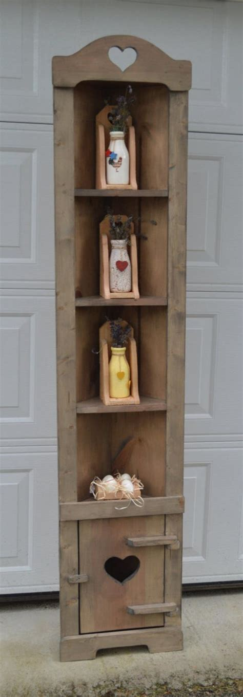 75 Country Corner Hutch With Wooden Hinges Primitive