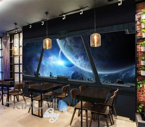 view planets  space   spaceship window art wall