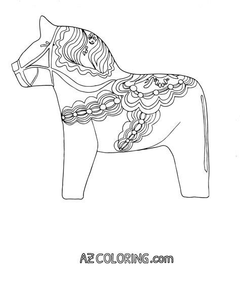 Swedish Dala Horse Coloring Page Pages