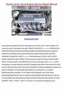 Toyota 1zz Fe 3zz Fe Engine Service Repair Ma By Kasey