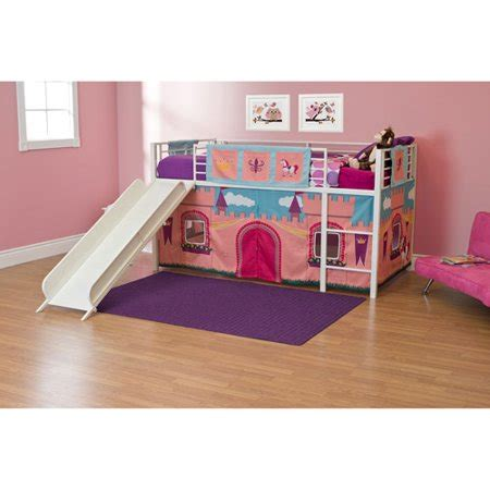girls princess castle twin loft bed   white