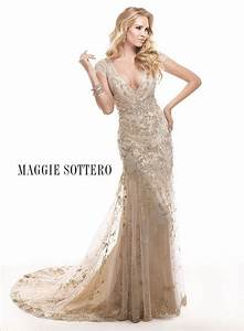 Lace corsets and maggie sottero on pinterest for Champagne gold wedding dress