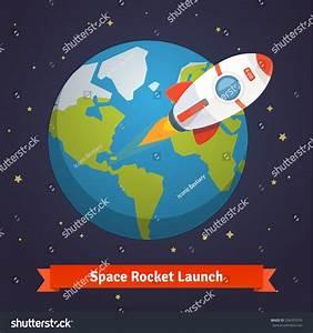 Cartoon Space Rocket Leaving Earth Orbit Stock Vector ...