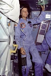 Sally Ride on the Middeck   NASA