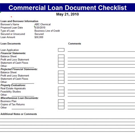 docs checklist template commercial loan document checklist template office templates commercial and template