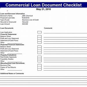 commercial loan document checklist template office With commercial loan application template