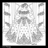 Coloring Dresses Colouring Marriage Adults Adult Sheets Bridal Ceremony Blank Web Simple Printable Bride Odd Fantasy Unique Winter Fashiondivaly sketch template