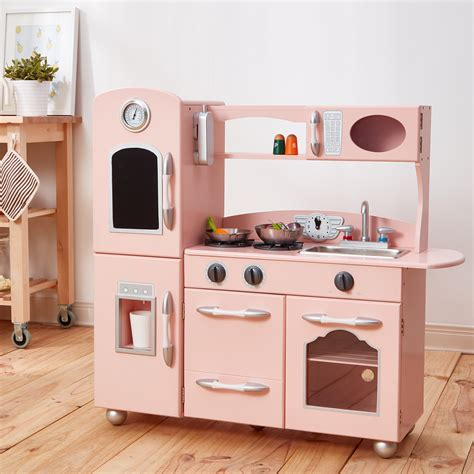 teamson kids childrens large wooden play kitchen pink toy