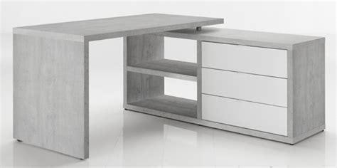 bureau blanc et noir bureau d 39 angle réversible pratico béton blanc brillant