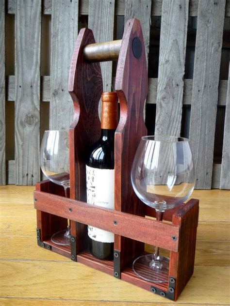 rustic wine  beer bottle carrier tote woodwork