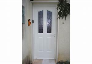 Porte d'entrée PVC & aluminium blanche vitrée