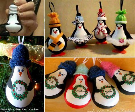 diy penguin light bulb ornaments pictures