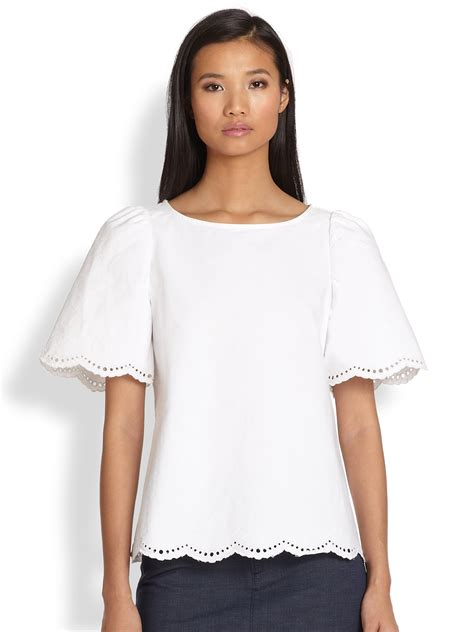 cotton blouses a p c splitback scalloped eyelet cotton blouse in white