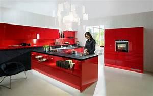 cuisine rouge plan de travail noir With cuisine rouge plan de travail noir