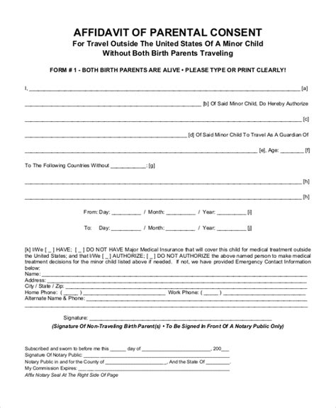 affidavit of consent form sle parental consent form 10 free documents in word pdf