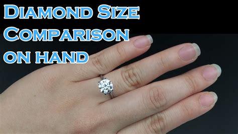 diamond size comparison  hand ct ct ct