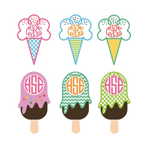 ice cream svg cuttable frames