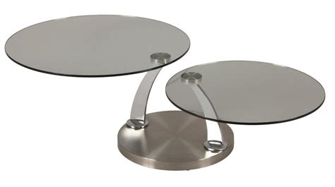 bureau console extensible 2 en 1 table basse ronde plateau en verre table basse de