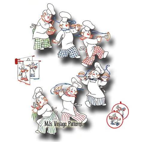 kitchen embroidery designs vintage chefs embroidery pattern 6 designs of chefs in 1596