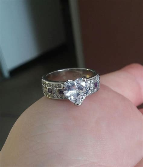 jared white gold tone silver purple engagement rings
